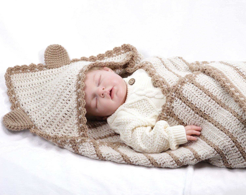 Little Bear Hoodedcrochetbaby Blanketpattern 157 Brn Cali Chic Baby